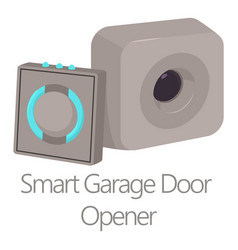 Smart garage door opener icon cartoon style vector