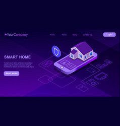 Smart home controlled smartphone internet of vector
