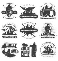Snowboarding emblem set vector