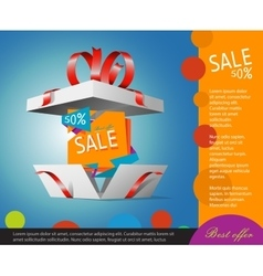 Special offer in a gift box Gift coupon vector