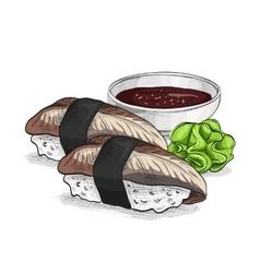 sushi color sketch unagi nigiri vector image