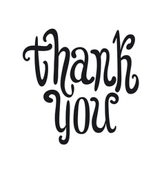 Thank you handwritten dark brush pen lettering vector image