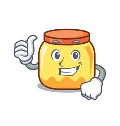 Thumbs up cream jar character cartoon vector