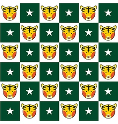 Tiger Star Green White Chess Board Background vector image