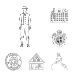 Traveling in denmark outline icons in set vector