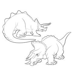 Triceratops cartoon lineart vector