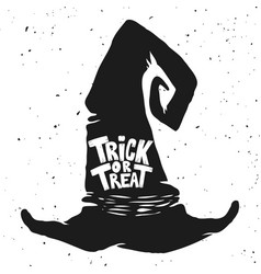 Trick or treat witch hat with lettering halloween vector