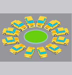 twelve identical cars parked in a circle vector image
