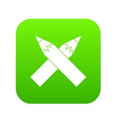 two crossed pencils icon digital green vector image