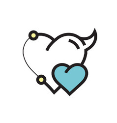 two heart devil pen tool style blue vector image