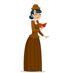 victorian lady character reading book retro vector image