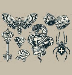 Vintage tattoos set vector