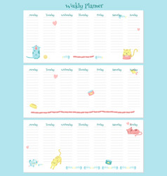 weekly planner template with cute cats vector image