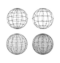 Wireframe spheres set globe symbols with dots vector
