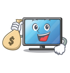 with money bag lcd tv cartoon in living room vector image