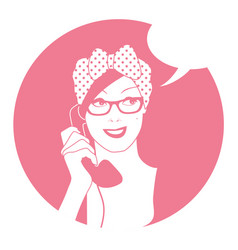 Woman on the vintage phone and blank speech vector