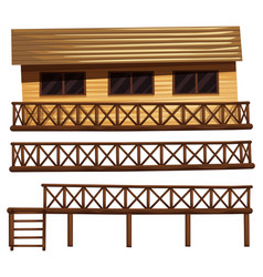 Wooden house and fences vector