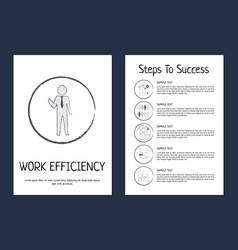 work efficiency and steps to success poster black vector image