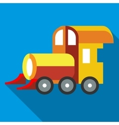 Yellow toy train icon flat style vector image