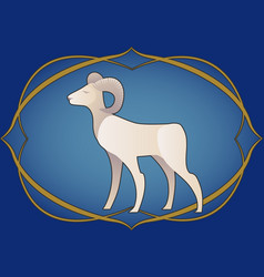 Zodiac sign aries ram inside in an ornamental vector