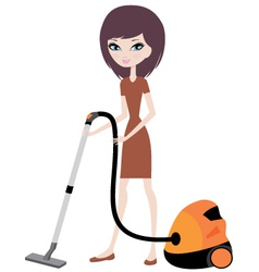 pretty girl with vacuum cleaner vector image vector image