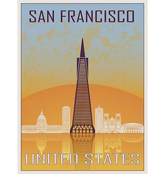 San Francisco 2 Vintage Poster vector image vector image