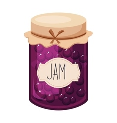Sweet Black Currant Purple Jam Glass Jar Filled vector image