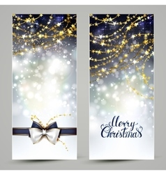Two Christmas greeting cards with bow and garlands vector image vector image