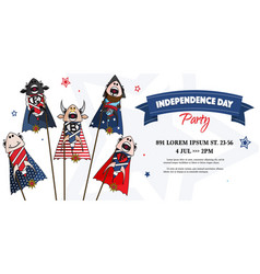 Usa independence day card 4th july vector