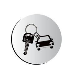 Degraded button car shaped keychain icon vector