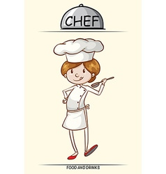 Female chef trying out the food vector image vector image