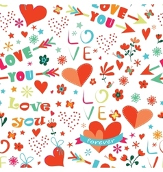 Happy Valentines Day floral seamless pattern vector image vector image