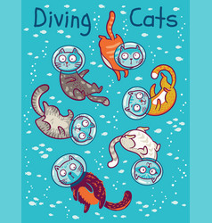 print with cats in ocean vector image vector image
