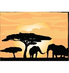 African Safari Elephants silhouettes vector image