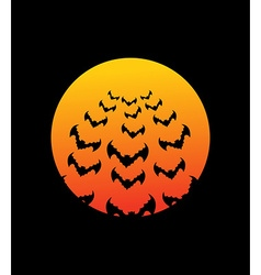 Bats and bloodmoon terrible night sky for hallowe vector