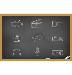blackboard media tools icons vector image