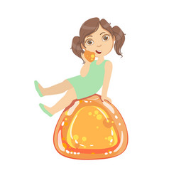 little girl is sitting on a huge orange jelly andy vector image vector image