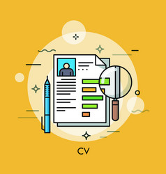 paper document with curriculum vitae pen and vector image