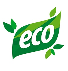 eco logo in the form of a green leaf vector image vector image