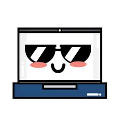 kawaii cute tender laptop technology vector image
