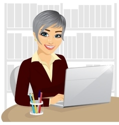 successful young businesswoman with laptop vector image vector image