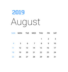 2019 happy new year august calendar template vector image