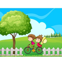 A boy biking with his girlfriend vector image