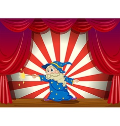 A wizard with wand in the middle of the stage vector