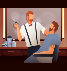 At hairdressers flat composition vector