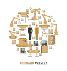 Automated Assembly Round Composition vector image