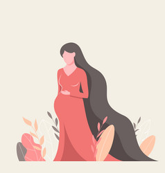 beautiful pregnant woman in colorful leaves vector image