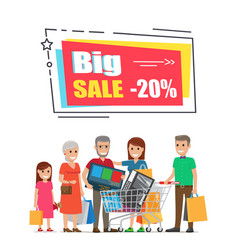 big sale promo sticker frame 20 people shopping vector image