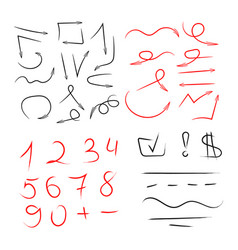 Big set of hand drawn numbers arrows for vector