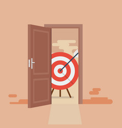 big target behind opened door vector image